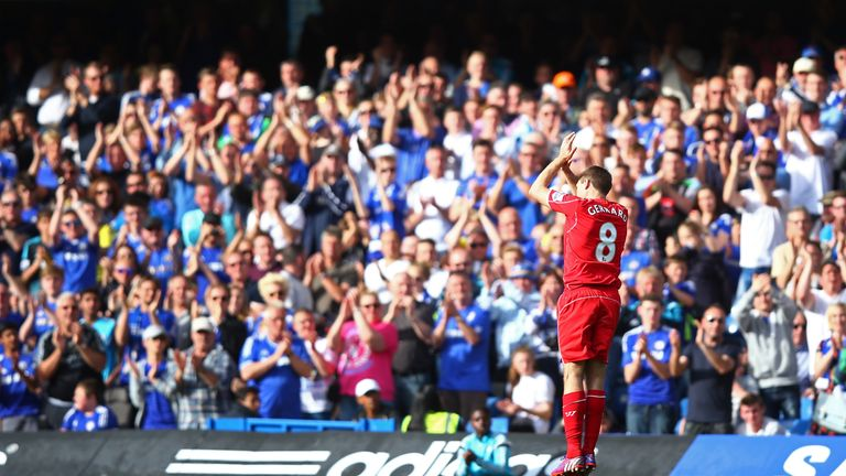 Steven Gerrard received a standing ovation from Chelsea fans as he was substituted