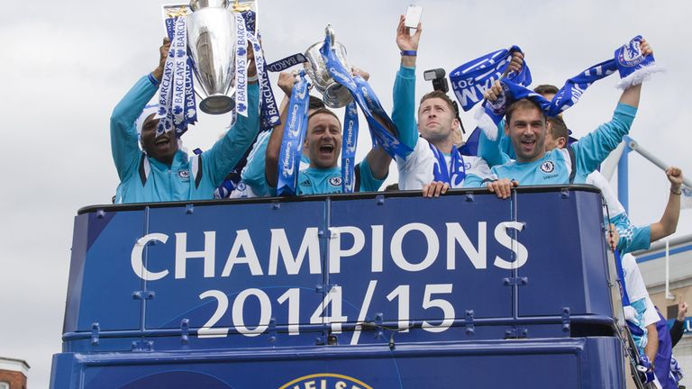Blues' players in celebratory mood in Fulham on Monday
