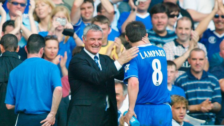Claudio Ranieri embraces Frank Lampard during his final game in charge in 2004
