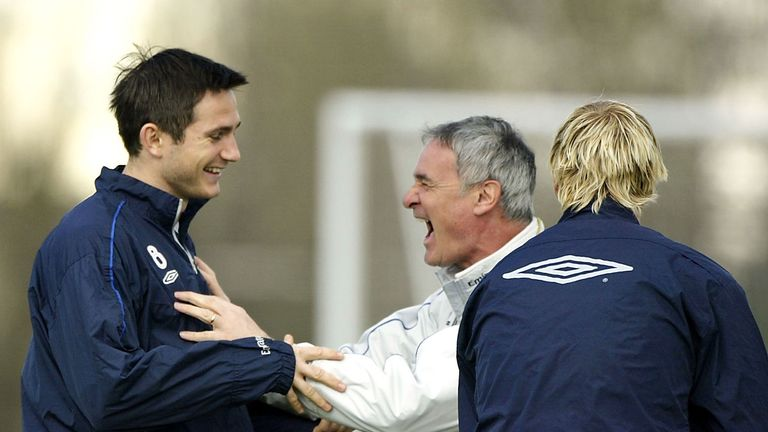 Claudio Ranieri, Chelsea manager, jokes with Frank Lampard during  training prior to a game against Middlesbrough in April 2004
