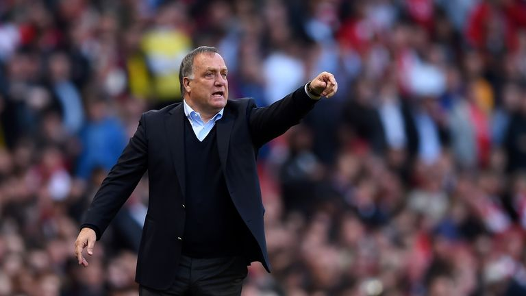 Dick Advocaat looks on during the Barclays Premier League match between Arsenal and Sunderland at Emirates Stadium on May 20 2015