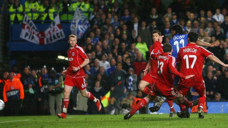 Didier Drogba of Chelsea scores their third goal during the UEFA Champions League Semi Final 2nd leg match between Chelsea and Liverpool in 2008
