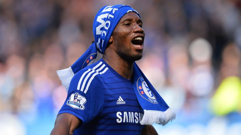 Chelsea's Didier Drogba celebrates after winning the Premier League title