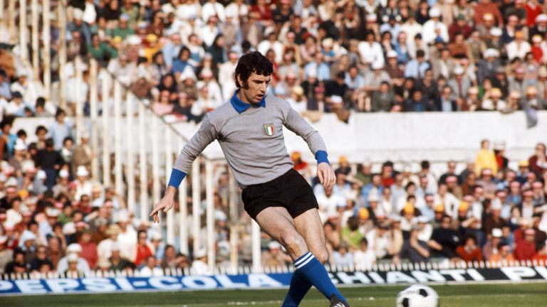 ROME, ITALY - NOVEMBER 17: Italy Goalkeeper Dino Zoff in action during an International match circa 1976, Zoff won over 100 full caps