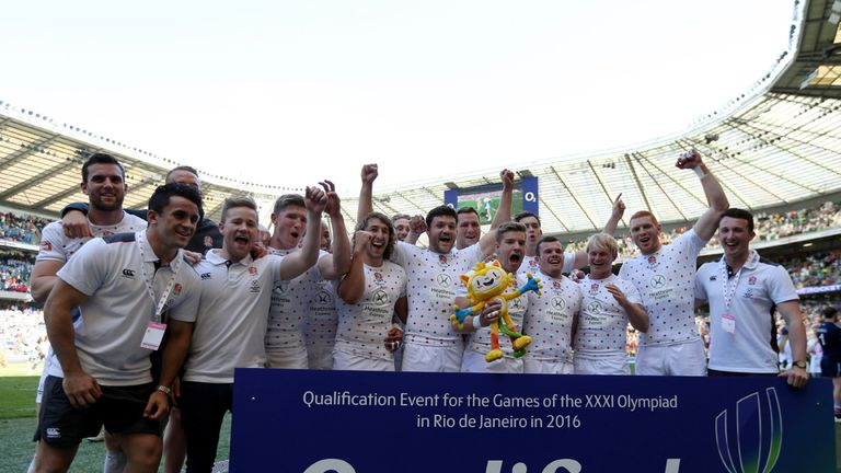 England Rugby 7s team celebrate after qualifying Team GB for Rio 2016 Olympics during the Marriott London Sevens at Twickenham.