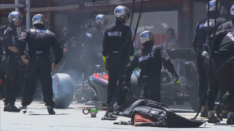 Brake problems meant Alonso couldn't stop on his marks in the McLaren pitbox in the Spanish GP