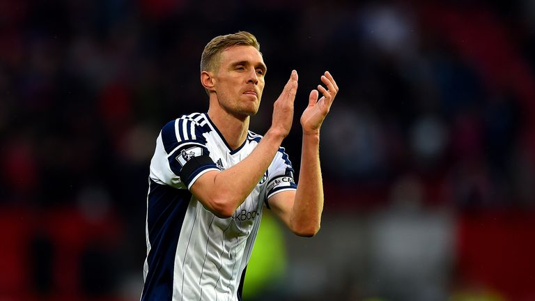 MANCHESTER, ENGLAND - MAY 02:  Darren Fletcher of West Brom applauds the fans after the Barclays Premier League match between Manchester United and West Br