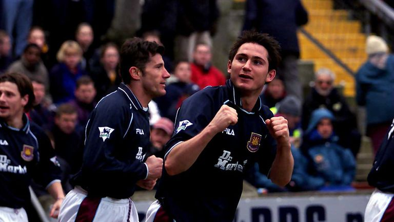 Frank Lampard of West Ham celebrates his second goal during the Premier League match between Bradford City and West Ham United.