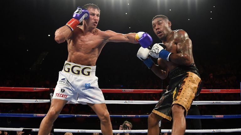 Gennady Golovkin lands a left hook on challenger Willie Monroe Jr in the second round