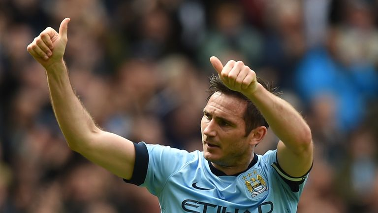 Frank Lampard celebrates after scoring in his final game for Manchester City