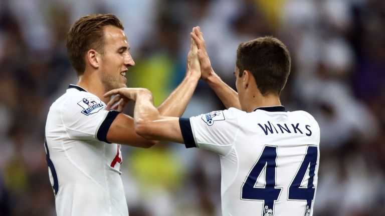 Harry Kane of Tottenham Hotspur celebrates with Harry Winks after scoring during the post-season friendly match between a Malaysia XI and Spurs