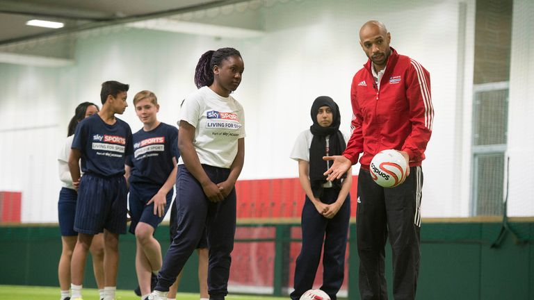 Thierry Henry Sky Sports Living For Sport Masterclass at the Arsenal Hub..