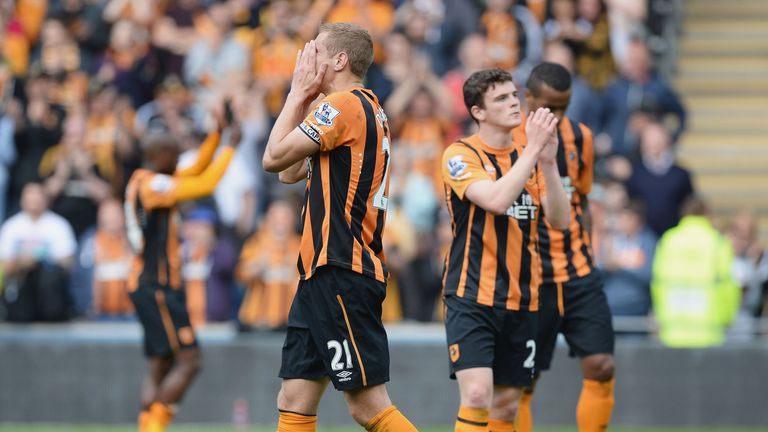 Michael Dawson of Hull City shows his dejection