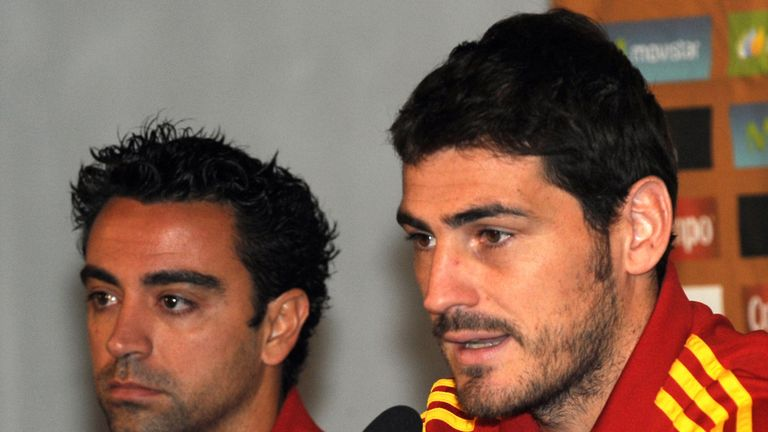 Xavi (L) and Iker Casillas at a press conference together while on international duty