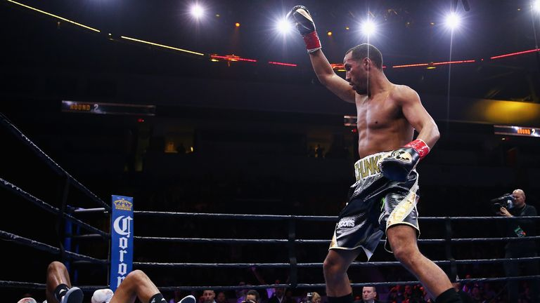 James DeGale celebrates after knocking down Andre Dirrell