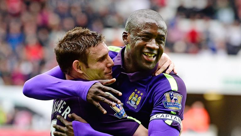 James Milner joined Yaya Toure to celebrate