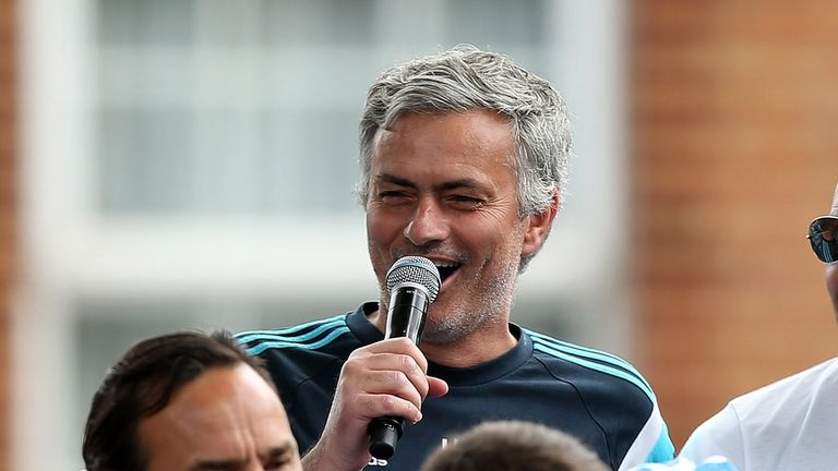 LONDON, ENGLAND - MAY 25:  Chelsea manager Jose Mourinho interacts with the crowd duing the Chelsea FC Premier League Victory Parade on May 25, 2015 in Lon