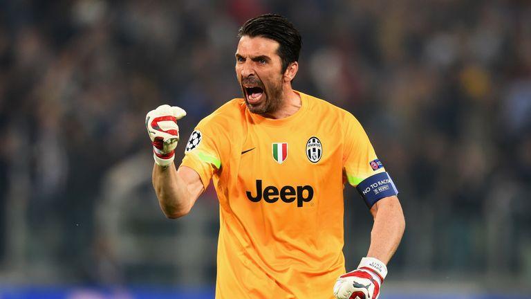 Gianluigi Buffon of Juventus celebrates as Alvaro Morata of Juventus scores their first goal