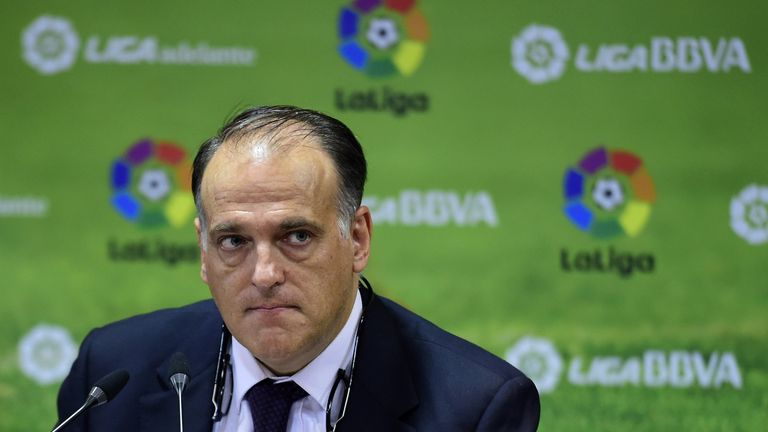 President of the Spanish professional football league Javier Tebas looks on as he gives a press conference at Spanish Liga headquarters in Madrid
