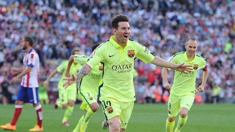 Lionel Messi celebrates Barcelona's winner