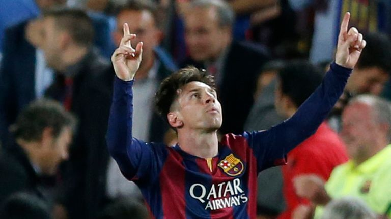 Barcelona's Lionel Messi celebrates after scoring the opening goal against Bayern on Wednesday