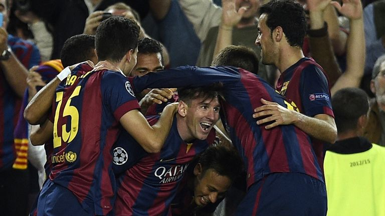 Lionel Messi goal celeb, Barcelona v Bayern Munich, Champions League