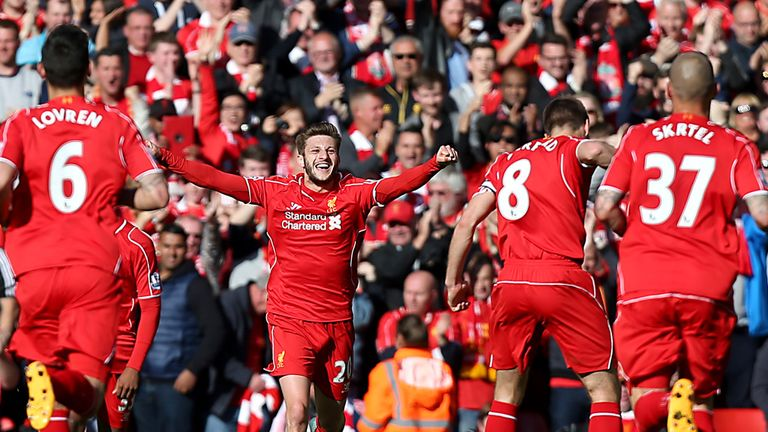 Adam Lallana celebrates after putting Liverpool 1-0 up against Crystal Palace