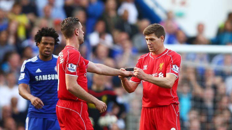 Steven Gerrard, Jordan Henderson, captain's armband, Chelsea v Liverpool