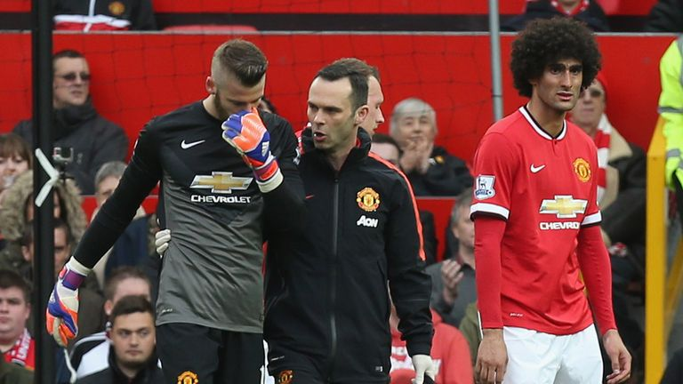 De Gea's match was ended by injury in the second half and Victor Valdes came on for his United debut
