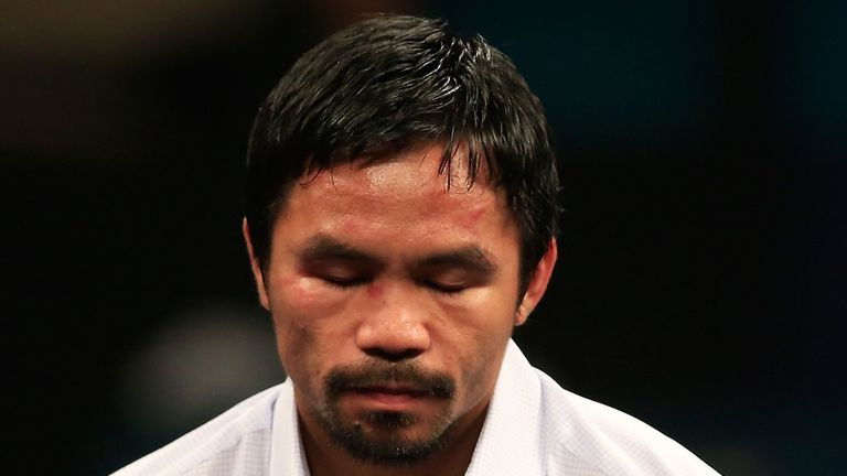 LAS VEGAS, NV - MAY 02:  Manny Pacquiao answers questions during the post-fight news conference after losing to Floyd Mayweather Jr. in their welterweight