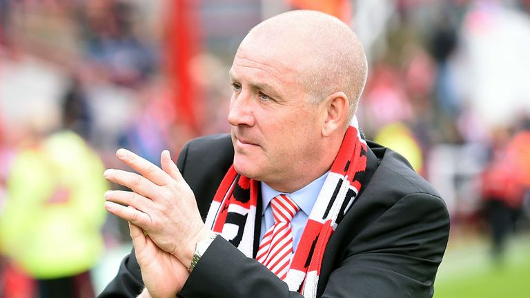 BRENTFORD, ENGLAND - MAY 02:  Brentford Manager Mark Warburton salutes the fans after the Sky Bet