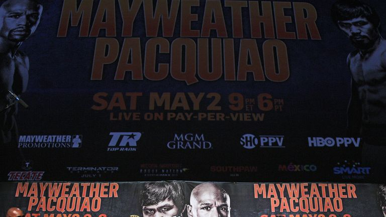 Floyd Mayweather and Manny Pacquiao during the news conference at MGM Grand