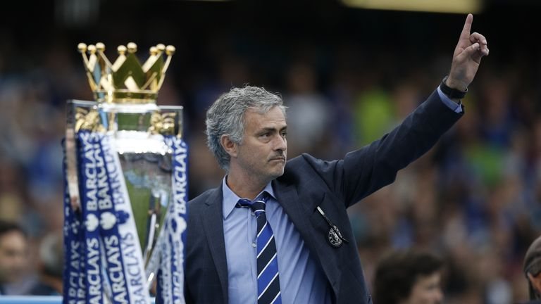 Jose Mourinho celebrates winning the Premier League.