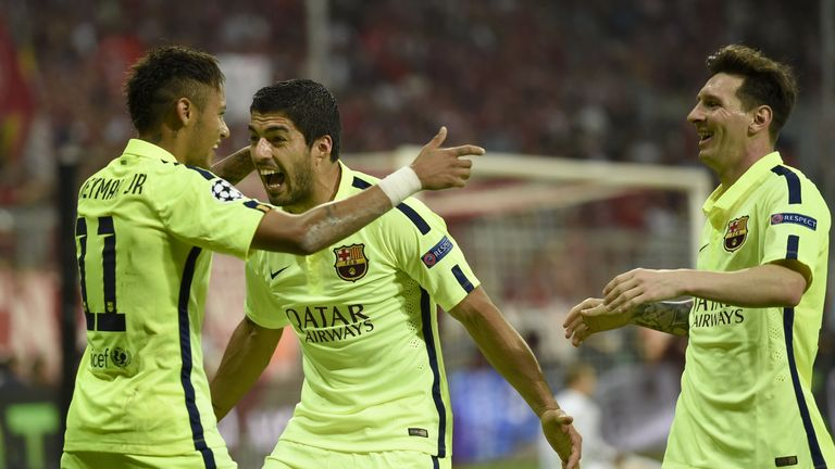 Barcelona's Neymar, Luis Suarez and Lionel Messi will be on Sky Sports next season