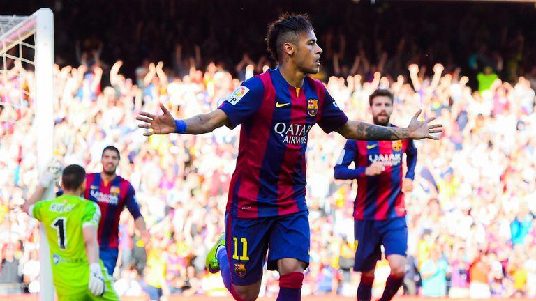 Neymar celebrates scoring against Real Sociedad