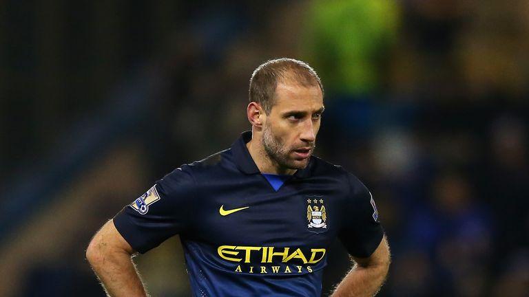Pablo Zabaleta of Manchester City looks on