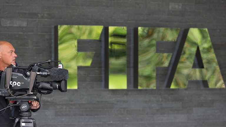 ZURICH, SWITZERLAND - MAY 27: A cameraman attends a press conference  at the FIFA headquarters on May 27, 2015 in Zurich, Switzerland. Swiss police on Wedn