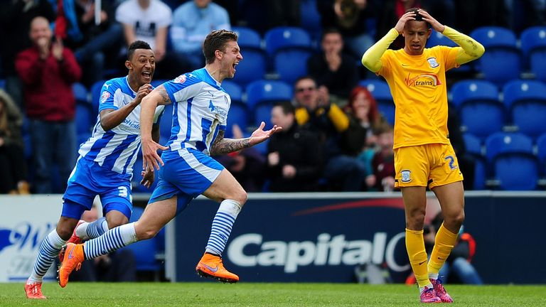 COLCHESTER, ENGLAND - MAY 03:  George Moncur of Colchester United (c) celebrates scoring his side's first goal during the Sky Bet League One match between