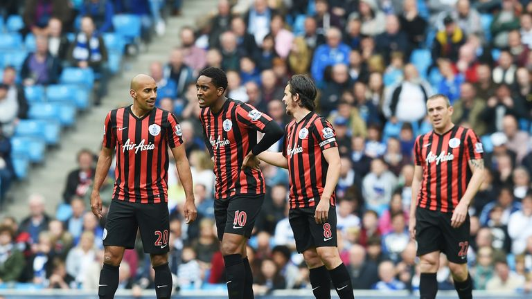 QPR players react during the Barclays Premier League match between Manchester City and Queens Park Rangers.