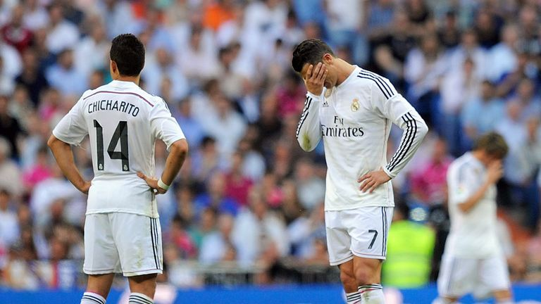 Cristiano Ronaldo reacts after Valencia take the lead