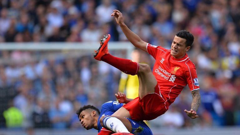 Chelsea's Ruben Loftus-Cheek fouls Liverpool's Philippe Coutinho during the  Premier League match at Stamford Bridge on May 10, 2015