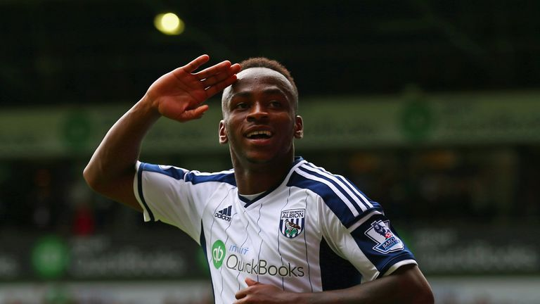 WEST BROMWICH, ENGLAND - AUGUST 16:  Saido Berahino of West Brom celebrates scoring his second goal during the Barclays Premier League match between West B