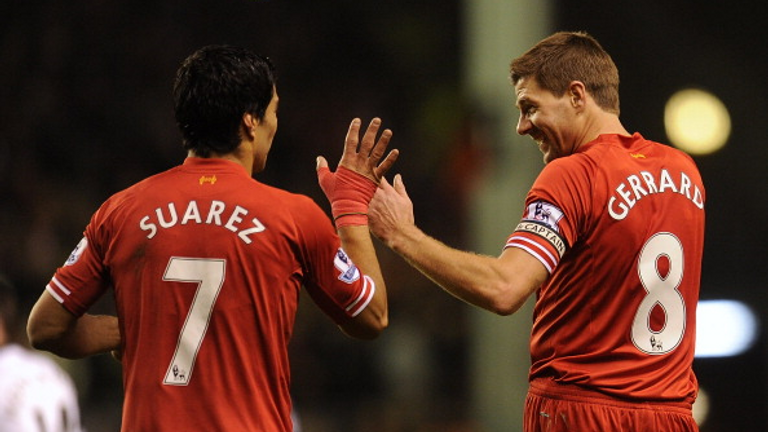 Luis Suarez and Steven Gerrard played together at Liverpool between 2011 and 2014