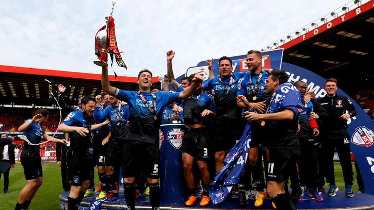 Tommy Elphick lifts Championship trophy, Charlton v Bournemouth, The Valley