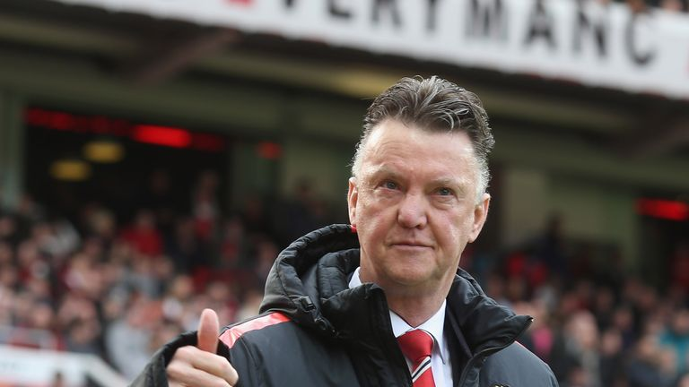 Louis van Gaal of Manchester United walks out for the second half