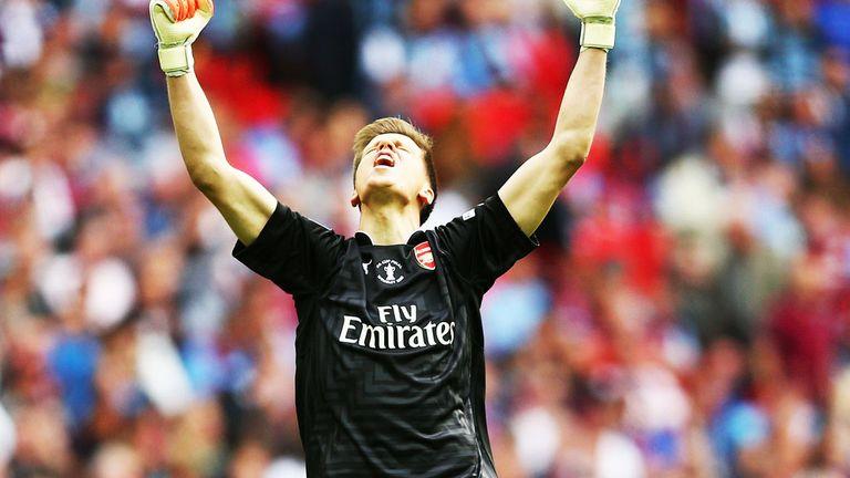 Wojciech Szczesny: Arsenal goalkeeper celebrates the FA Cup win