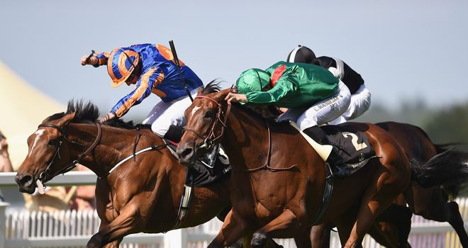 Ervedya (green silks) wins the Coronation Stakes under Belgian ace Christophe Soumillon