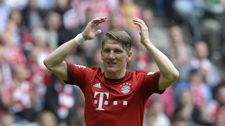 Bayern Munich's midfielder Bastian Schweinsteiger reacts during the German first division Bundesliga football match between FC Bayern Munich and FC Augsb