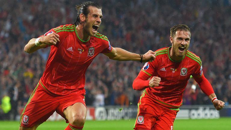 Gareth Bale celebrates after scoring the opening goal against Belgium