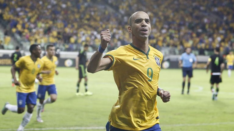 Brazil's Diego Tardelli celebrates his goal against Mexico.